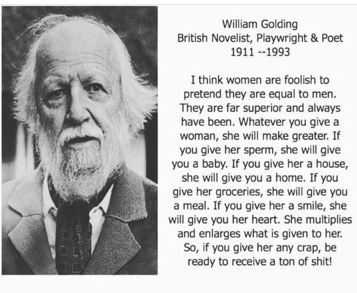William Golding quote the gift of sperm donation