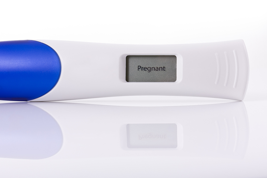 Pregnancy test showing a positive result