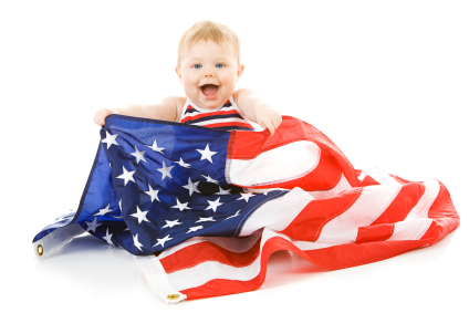 Sperm donor baby with USA flag